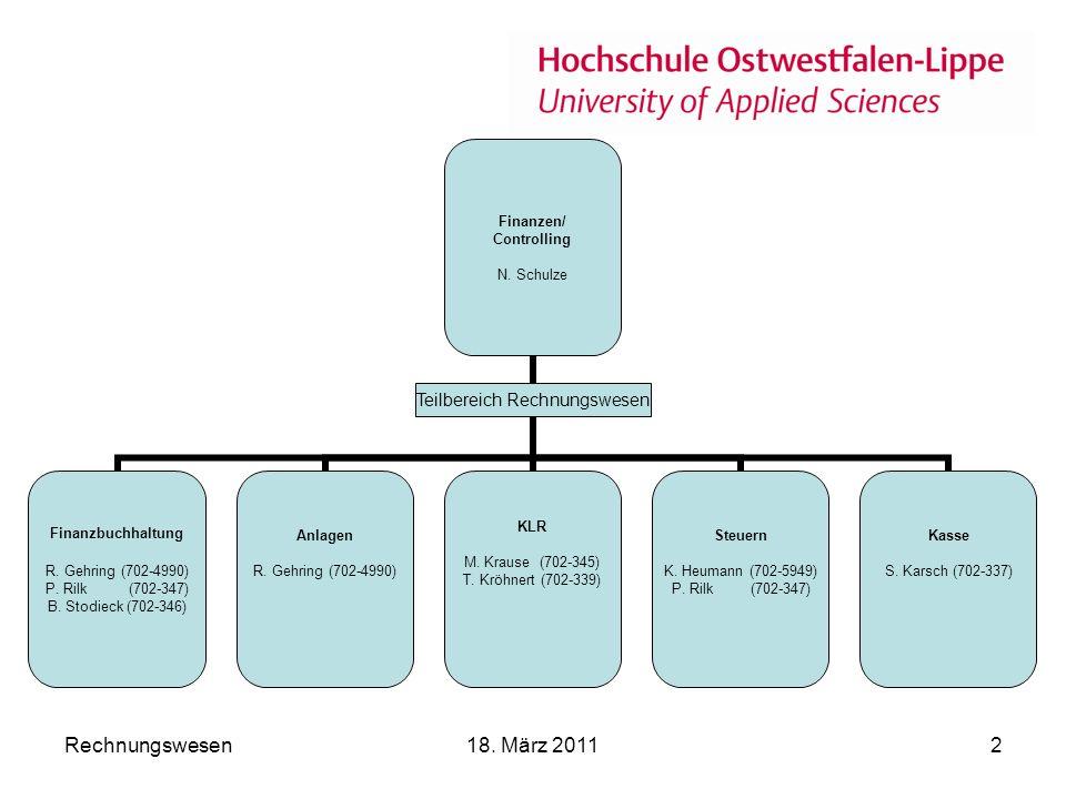 Rechnungswesen18.März 20112 Finanzen/ Controlling N.