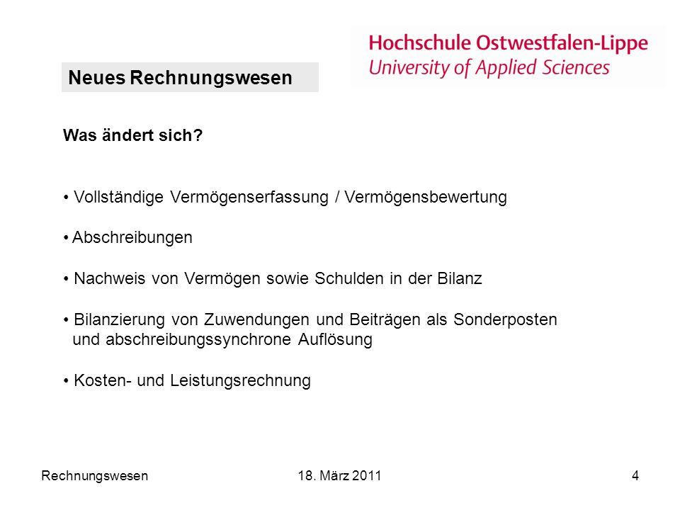 Rechnungswesen18.März 20114 Was ändert sich.
