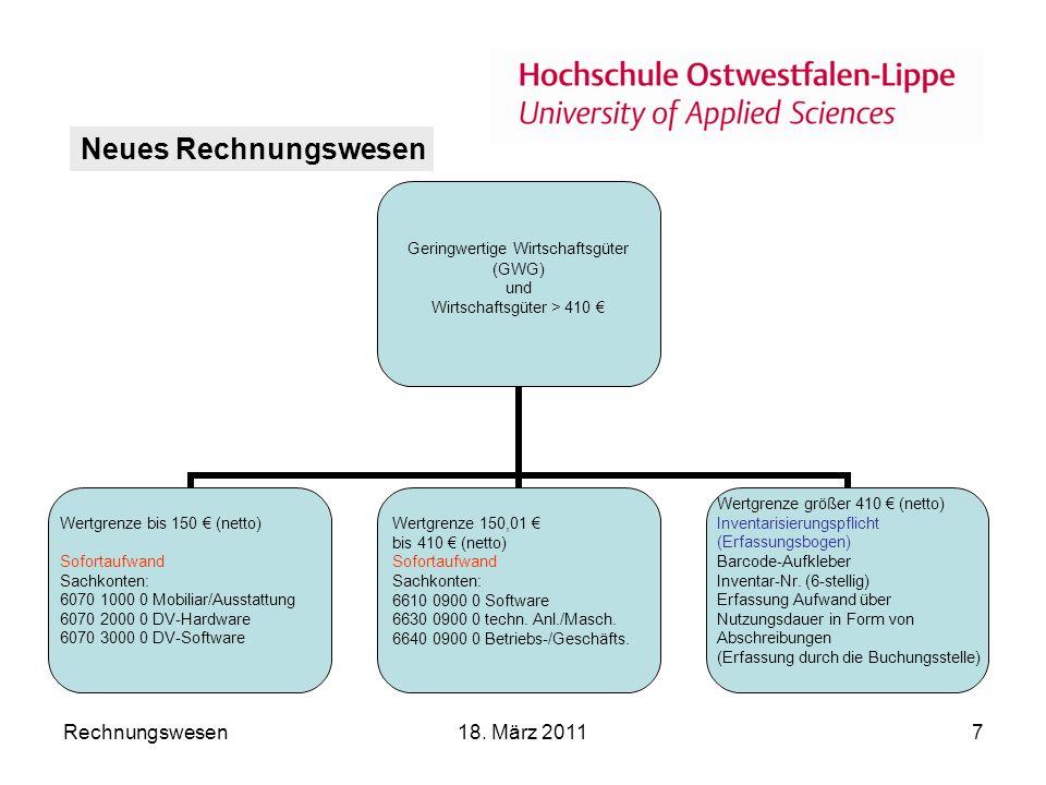 Rechnungswesen18.März 20118 Neues Rechnungswesen Info: Ab dem 01.