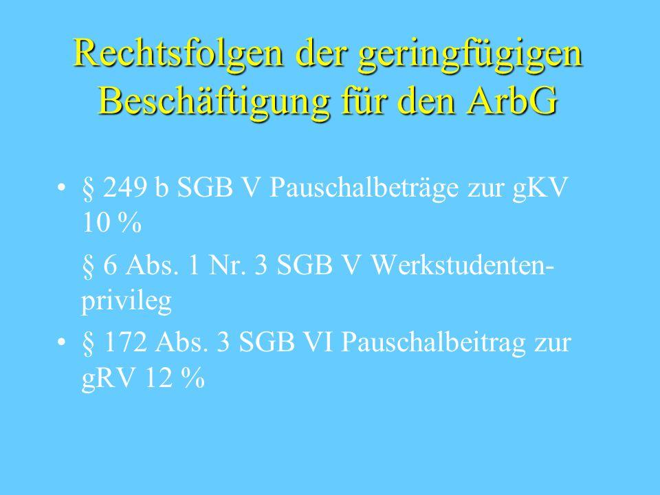 Rechtsfolgen der geringfügigen Beschäftigung für den ArbN § 7 SGB V Versicherungsfreiheit in der gKV § 1 Abs. 2, 20 Abs. 1 SGB XI versicherungsfrei in