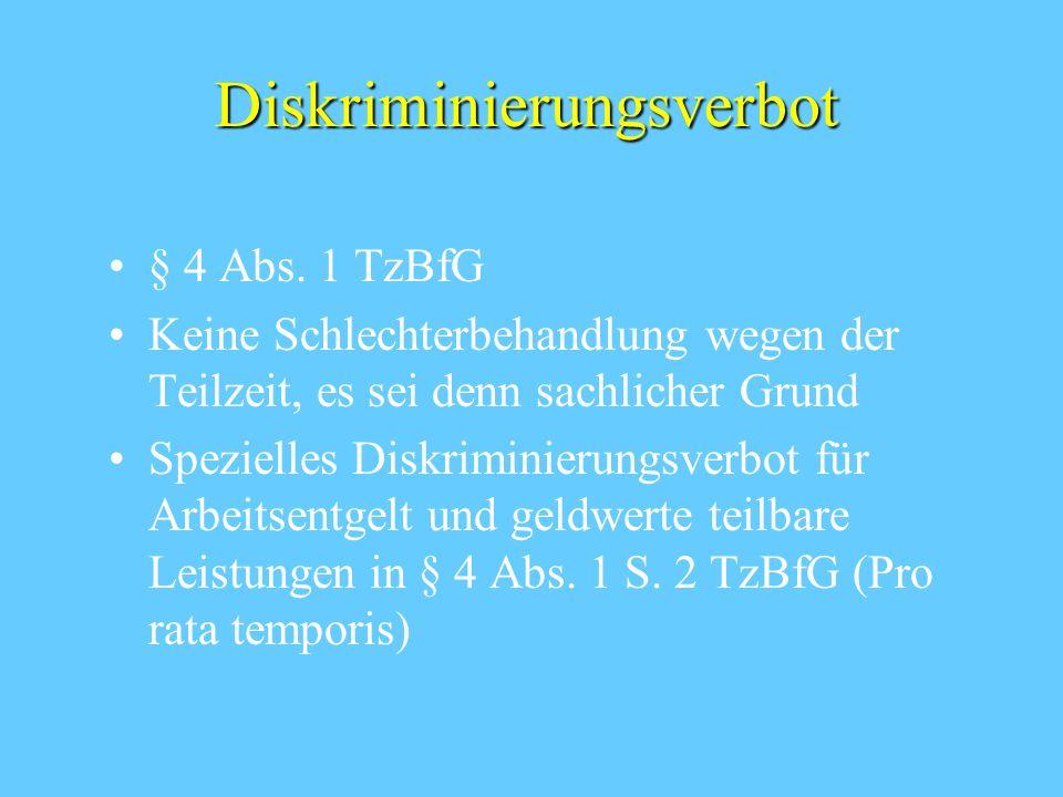 Begriff des Teilzeitarbeitnehmers § 2 Abs. 1 TzBfG regelmäßige Wochenarbeitszeit kürzer als die eines vergleichbaren vollzeitbe- schäftigten ArbN Verg