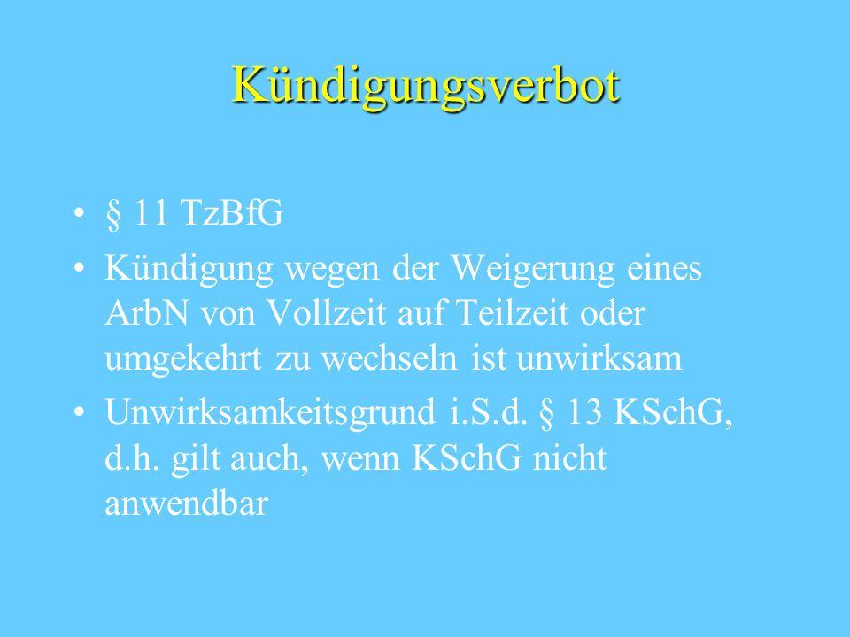 Informationspflichten des ArbG § 7 Abs. 2 und 3 TzBfG Individuelle Information von ArbN, die den Wunsch auf Änderung ihrer vertraglichen Arbeitszeit a