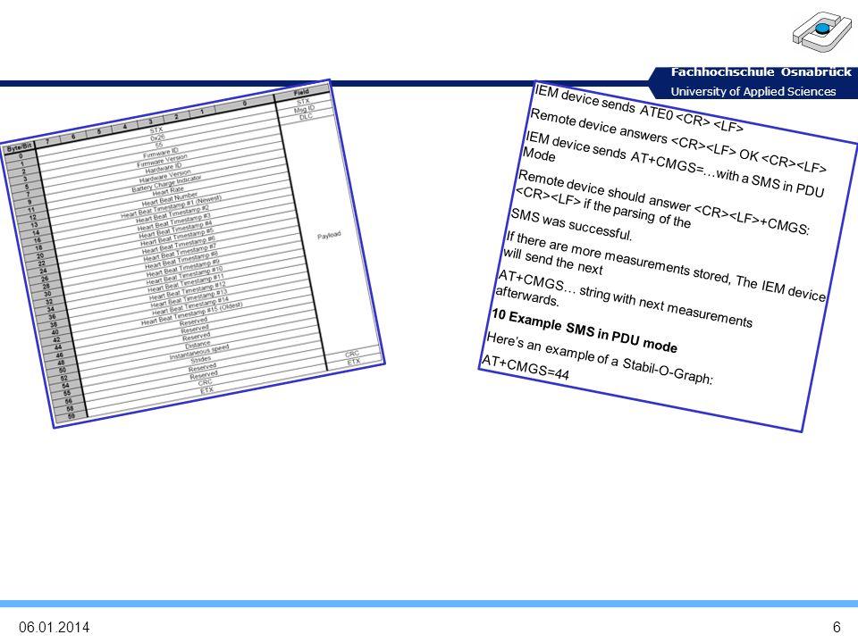 Fachhochschule Osnabrück University of Applied Sciences Anforderungen 7 06.01.2014 Parsen von Datenpaketen eines Sensors Auslesen und Interpretation von Bits/Bytes in z.B.