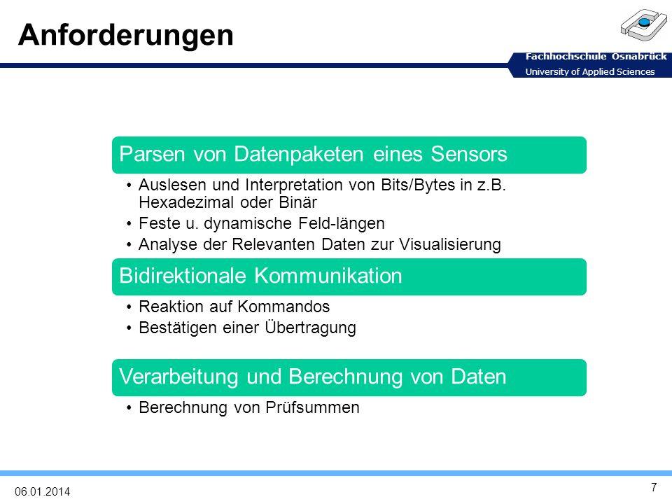 Fachhochschule Osnabrück University of Applied Sciences Bluetooth 806.01.2014 Universelles Funksystem für drahtlose Ad-hoc-Verbindungen Verknüpfung von Computer mit Peripherie, tragbaren Geräten, PDAs, Handys Günstige Einbettung in andere Geräte Kleine Reichweite (10 m), niedrige Leistungsaufnahme, lizenzfrei im 2,45 GHz-ISM-Band Sprach-und Datenübertragung, ca.