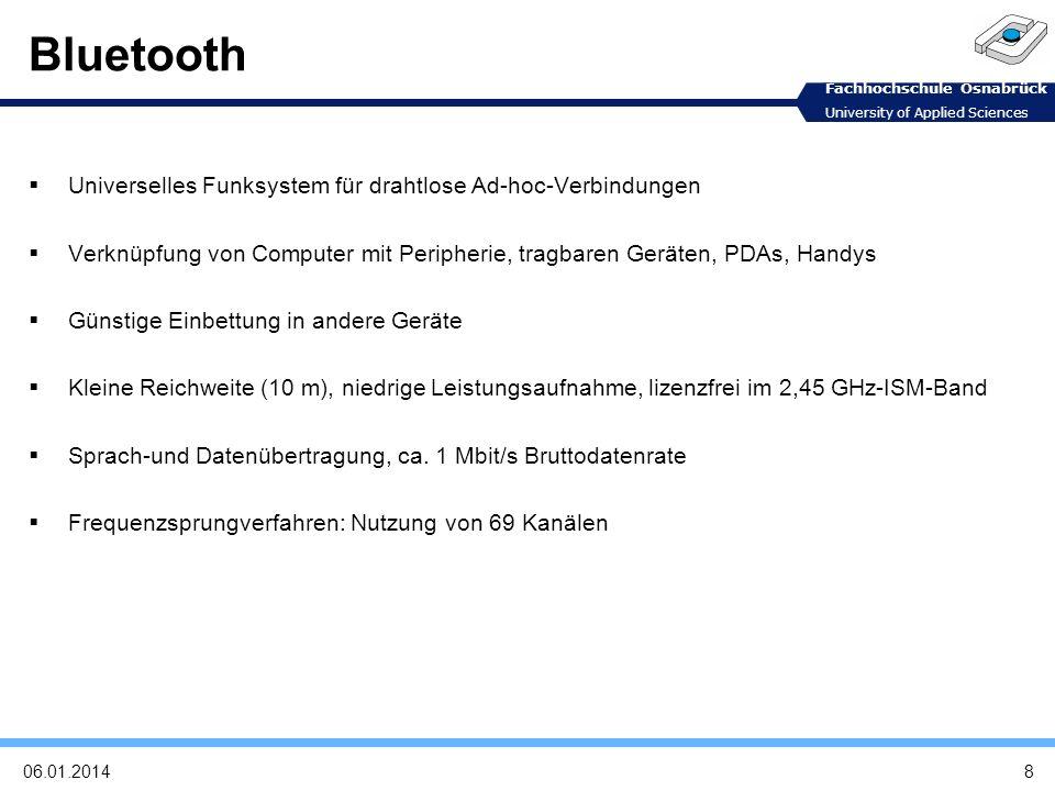 Fachhochschule Osnabrück University of Applied Sciences Bluetooth und seine Probleme Bluetooth-Unterstützung ab Android 2.0 Ab Android 1.5 über backport-library Abstürze mit backport-library Nicht voll kompatibel 1906.01.2014