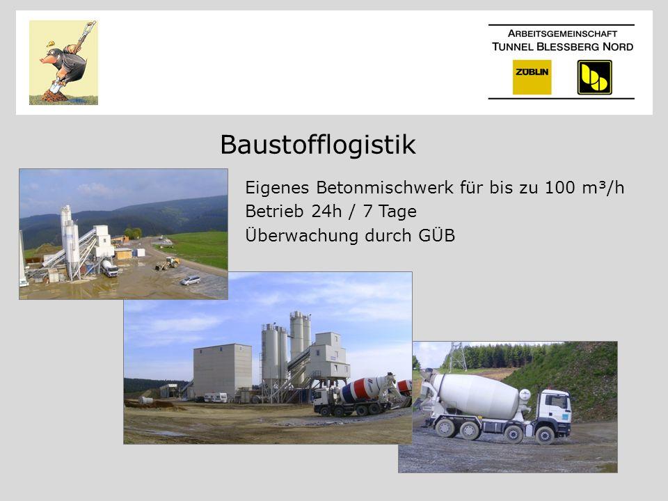 Baustofflogistik Eigenes Betonmischwerk für bis zu 100 m³/h Betrieb 24h / 7 Tage Überwachung durch GÜB
