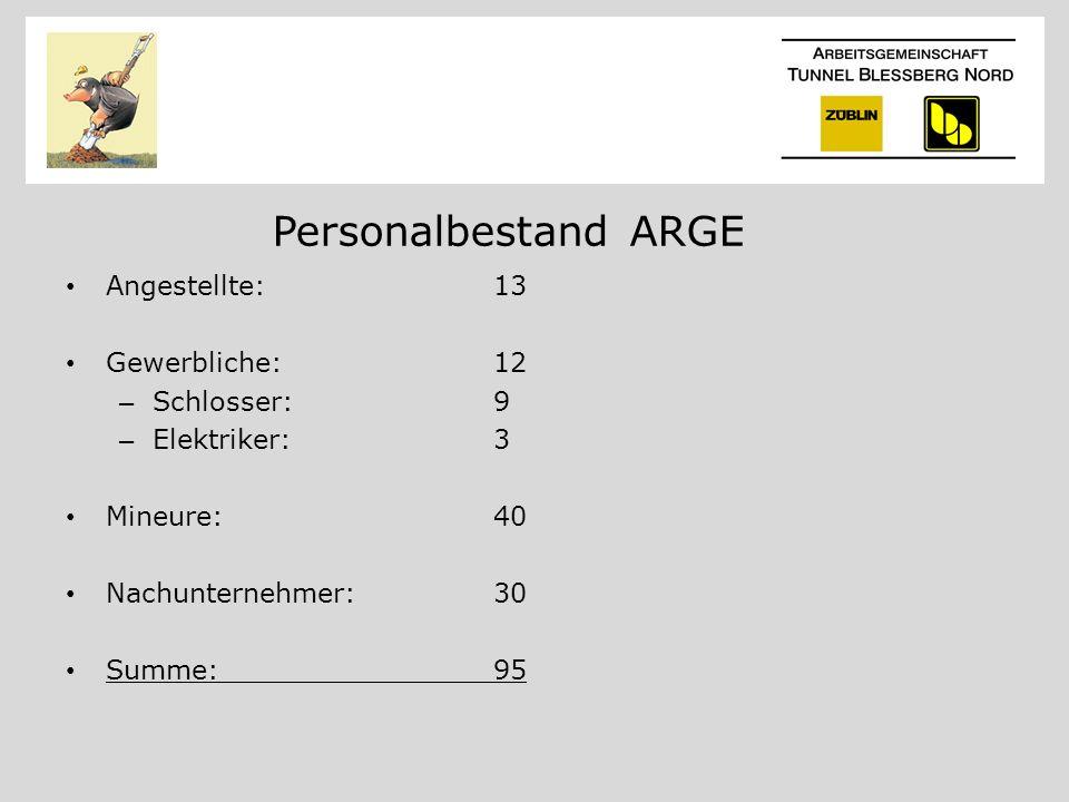 Personalbestand ARGE Angestellte:13 Gewerbliche:12 – Schlosser:9 – Elektriker:3 Mineure:40 Nachunternehmer:30 Summe:95