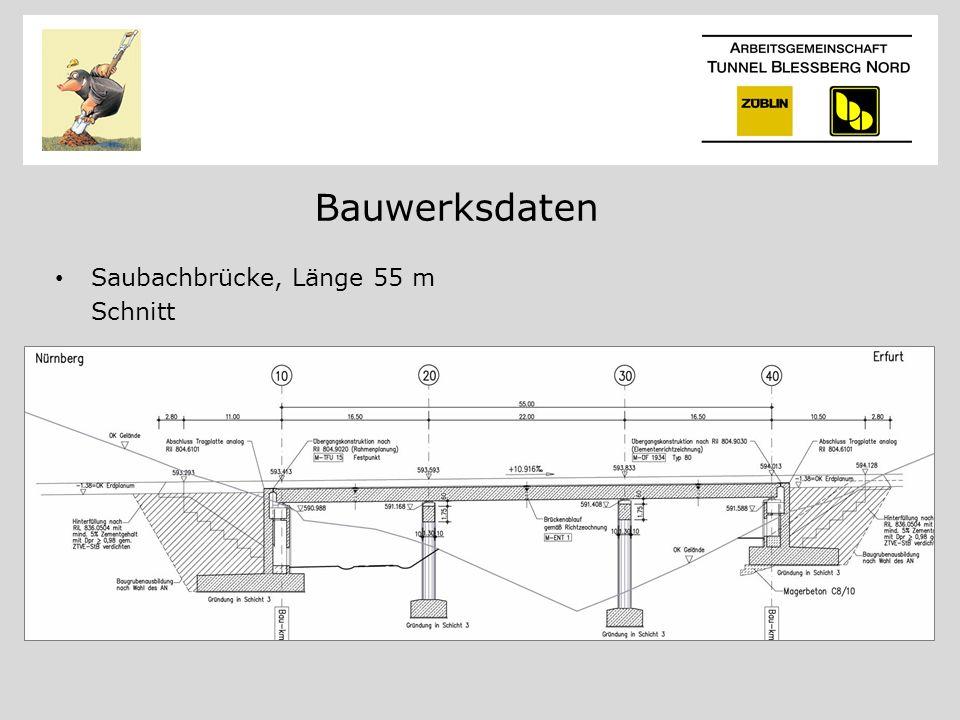 Bauwerksdaten Saubachbrücke, Länge 55 m Schnitt