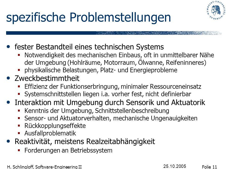 Folie 11 H. Schlingloff, Software-Engineering II 25.10.2005 spezifische Problemstellungen fester Bestandteil eines technischen Systems Notwendigkeit d