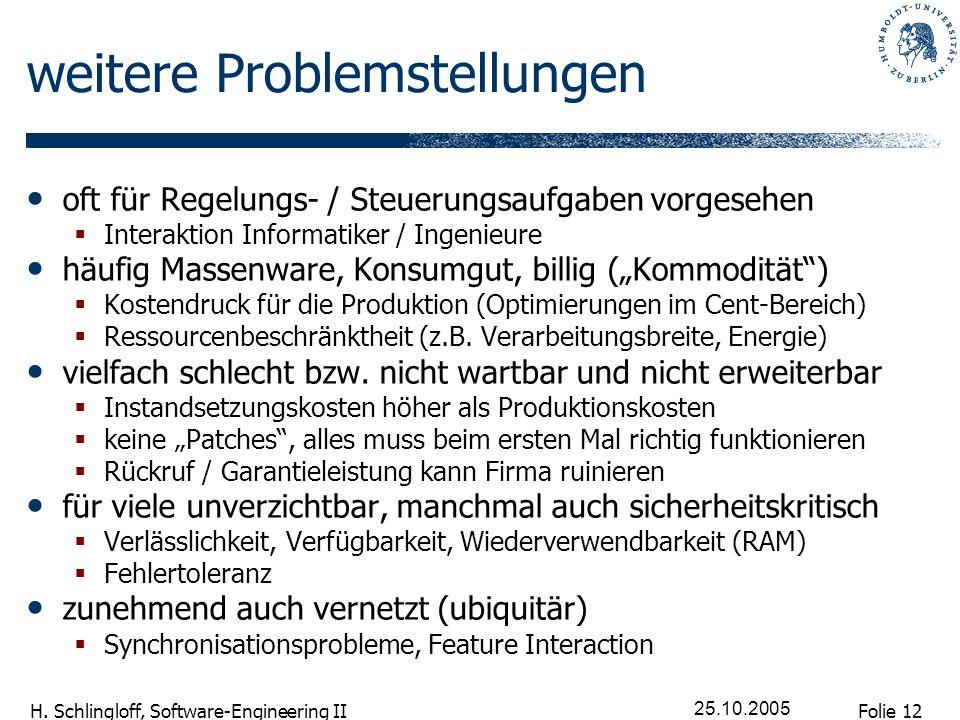 Folie 12 H. Schlingloff, Software-Engineering II 25.10.2005 weitere Problemstellungen oft für Regelungs- / Steuerungsaufgaben vorgesehen Interaktion I