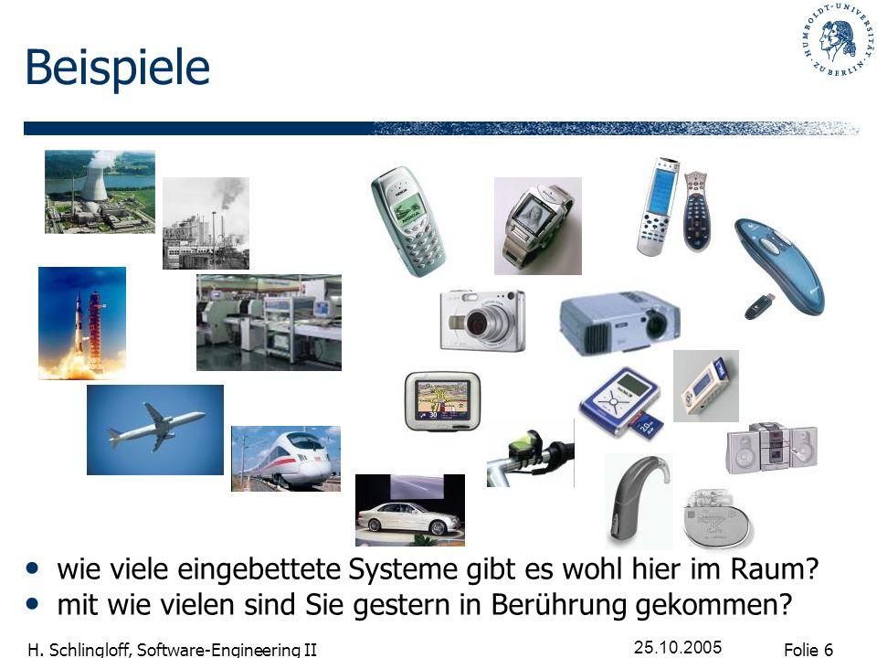 Folie 6 H. Schlingloff, Software-Engineering II 25.10.2005 Beispiele wie viele eingebettete Systeme gibt es wohl hier im Raum? mit wie vielen sind Sie
