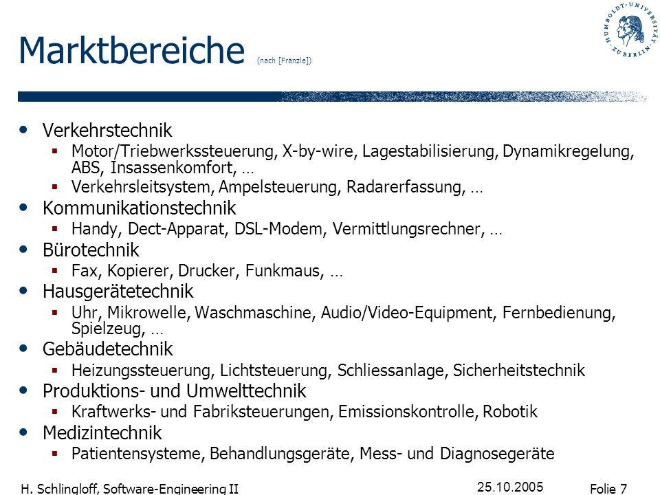 Folie 7 H. Schlingloff, Software-Engineering II 25.10.2005 Marktbereiche (nach [Fränzle]) Verkehrstechnik Motor/Triebwerkssteuerung, X-by-wire, Lagest