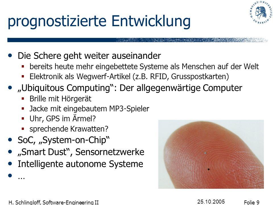Folie 9 H. Schlingloff, Software-Engineering II 25.10.2005 prognostizierte Entwicklung Die Schere geht weiter auseinander bereits heute mehr eingebett