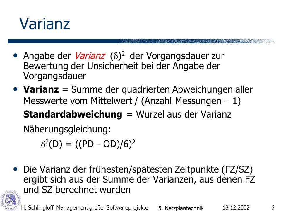 18.12.2002H. Schlingloff, Management großer Softwareprojekte6 Varianz Angabe der Varianz ( ) 2 der Vorgangsdauer zur Bewertung der Unsicherheit bei de