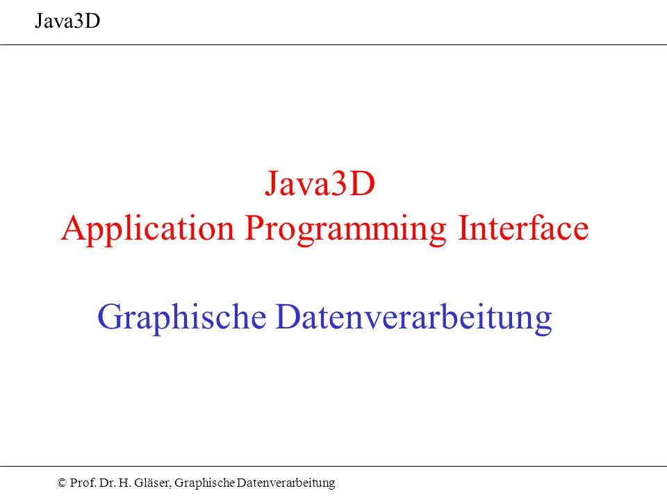 © Prof. Dr. H. Gläser, Graphische Datenverarbeitung Java3D Application Programming Interface Graphische Datenverarbeitung Java3D