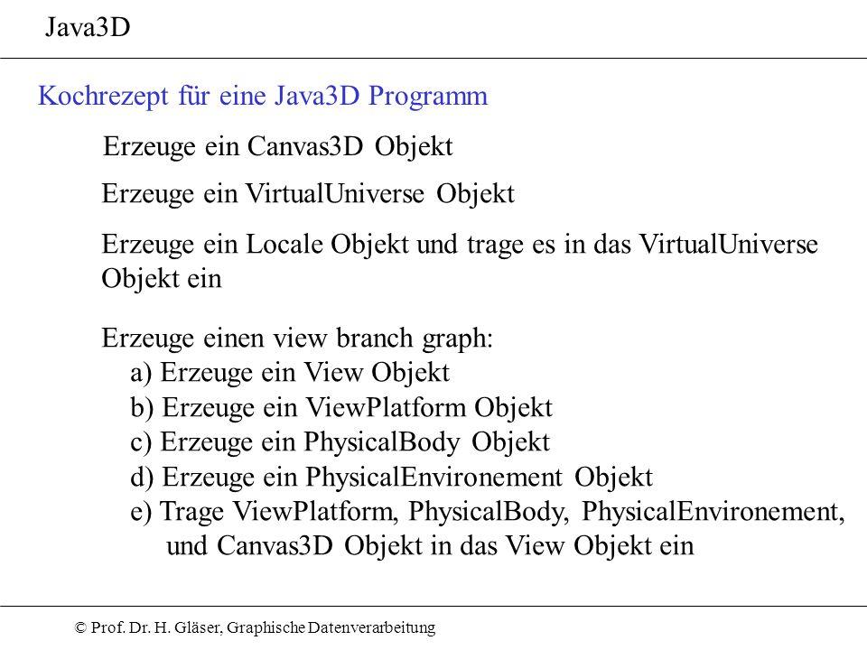 © Prof. Dr. H. Gläser, Graphische Datenverarbeitung Java3D Kochrezept für eine Java3D Programm Erzeuge ein Canvas3D Objekt Erzeuge ein VirtualUniverse