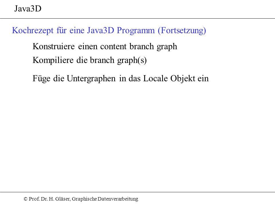 © Prof. Dr. H. Gläser, Graphische Datenverarbeitung Java3D Kochrezept für eine Java3D Programm (Fortsetzung) Konstruiere einen content branch graph Ko
