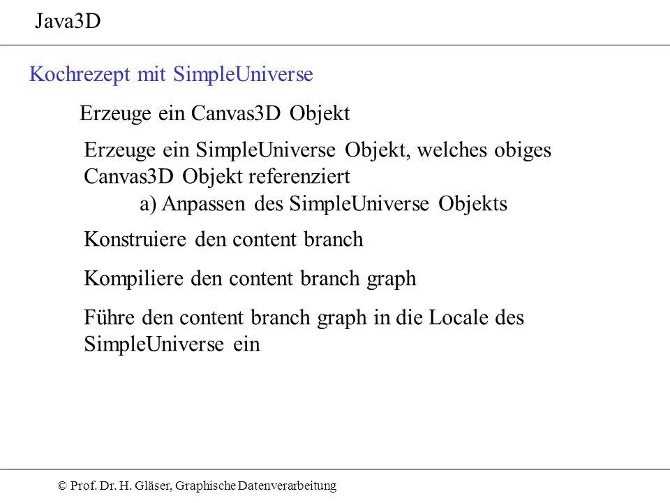 © Prof. Dr. H. Gläser, Graphische Datenverarbeitung Java3D Kochrezept mit SimpleUniverse Erzeuge ein Canvas3D Objekt Erzeuge ein SimpleUniverse Objekt