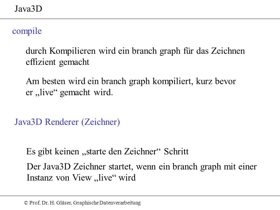 © Prof. Dr. H. Gläser, Graphische Datenverarbeitung Java3D compile durch Kompilieren wird ein branch graph für das Zeichnen effizient gemacht Am beste
