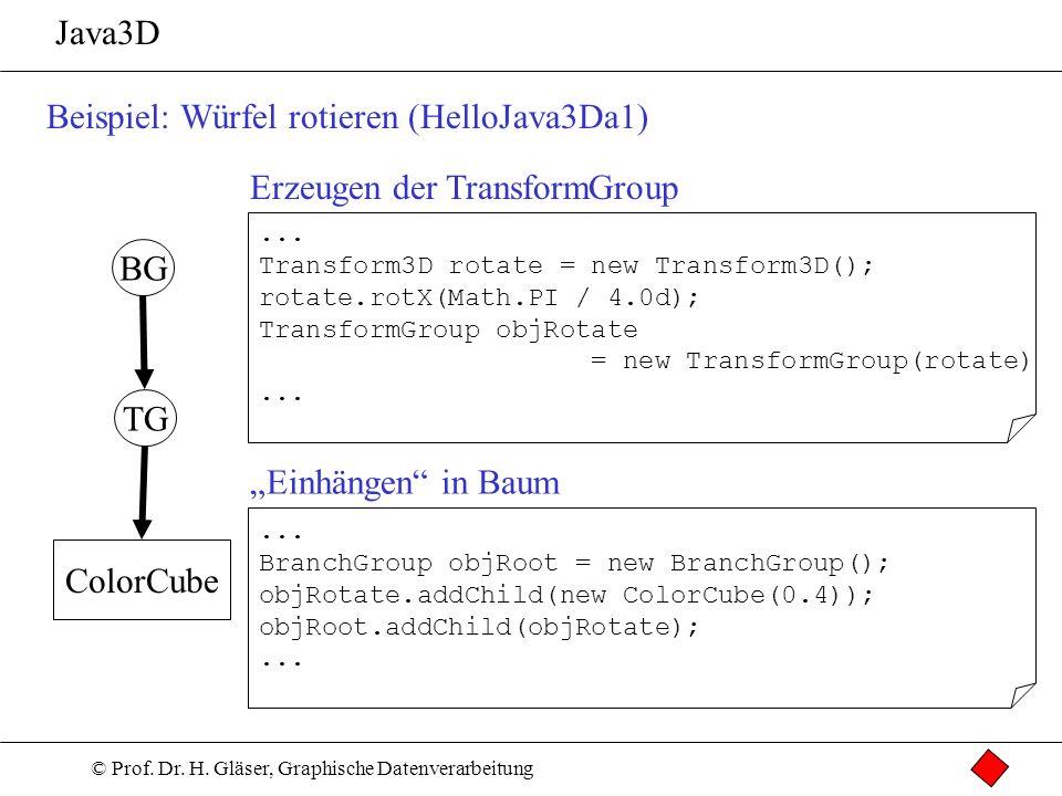 © Prof. Dr. H. Gläser, Graphische Datenverarbeitung Java3D Beispiel: Würfel rotieren (HelloJava3Da1) TG ColorCube BG... Transform3D rotate = new Trans
