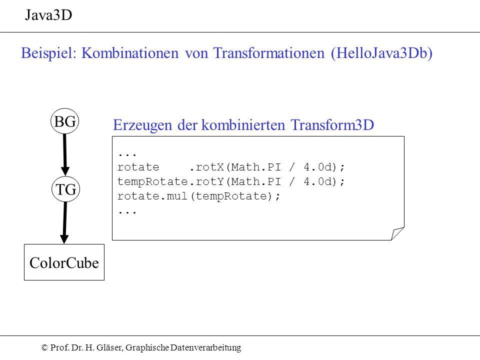 © Prof. Dr. H. Gläser, Graphische Datenverarbeitung Java3D Beispiel: Kombinationen von Transformationen (HelloJava3Db) TG ColorCube BG... rotate.rotX(