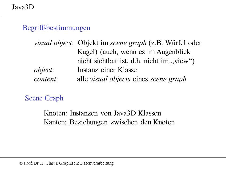 © Prof. Dr. H. Gläser, Graphische Datenverarbeitung Java3D Scene Graph Begriffsbestimmungen visual object: Objekt im scene graph (z.B. Würfel oder Kug
