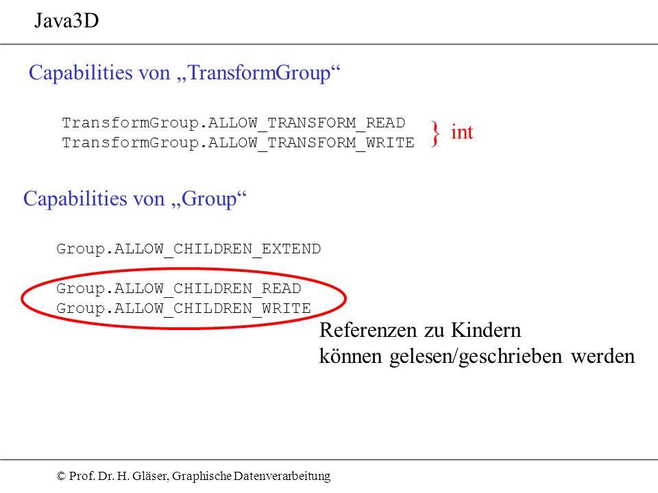© Prof. Dr. H. Gläser, Graphische Datenverarbeitung Java3D Capabilities von TransformGroup TransformGroup.ALLOW_TRANSFORM_READ TransformGroup.ALLOW_TR