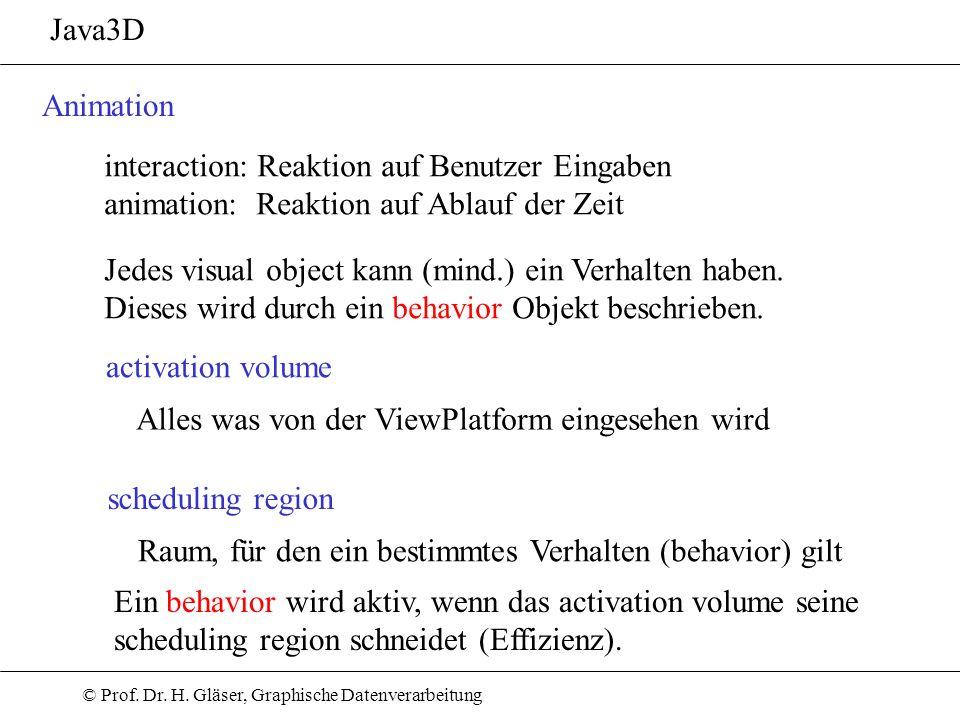 © Prof. Dr. H. Gläser, Graphische Datenverarbeitung Java3D Animation activation volume interaction: Reaktion auf Benutzer Eingaben animation: Reaktion
