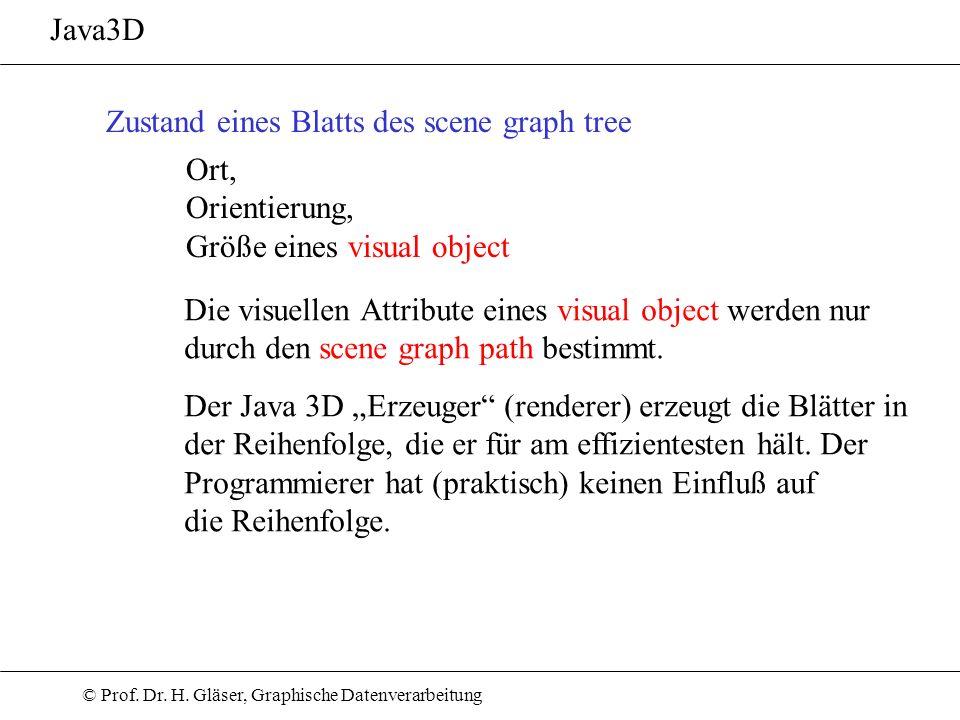 © Prof. Dr. H. Gläser, Graphische Datenverarbeitung Java3D Zustand eines Blatts des scene graph tree Ort, Orientierung, Größe eines visual object Die