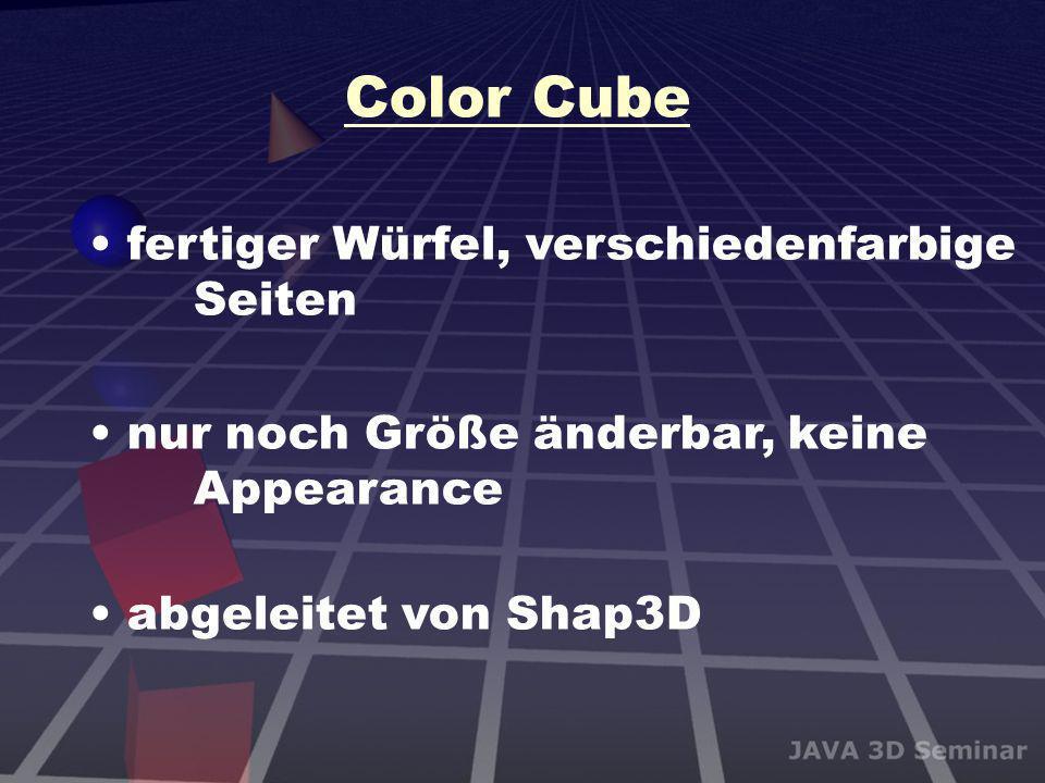 Color Cube fertiger Würfel, verschiedenfarbige Seiten nur noch Größe änderbar, keine Appearance abgeleitet von Shap3D