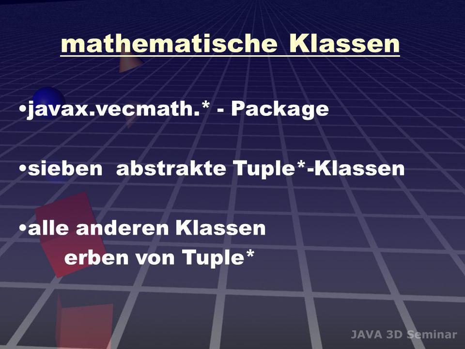 mathematische Klassen javax.vecmath.* - Package sieben abstrakte Tuple*-Klassen alle anderen Klassen erben von Tuple*