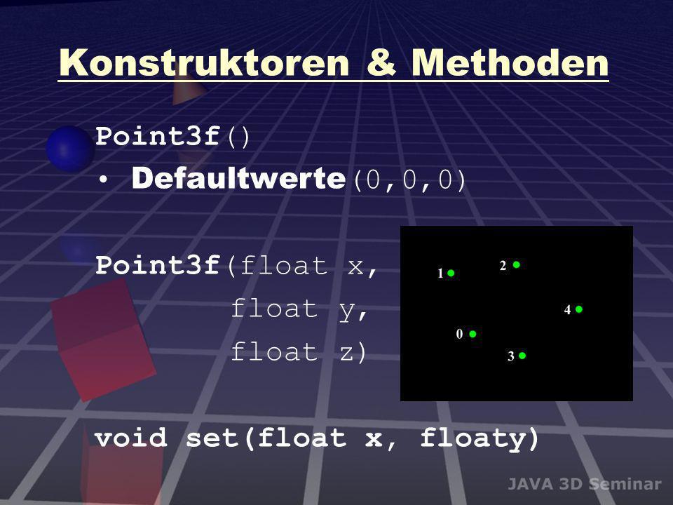 Konstruktoren & Methoden Point3f() Defaultwerte (0,0,0) Point3f(float x, float y, float z) void set(float x, floaty)