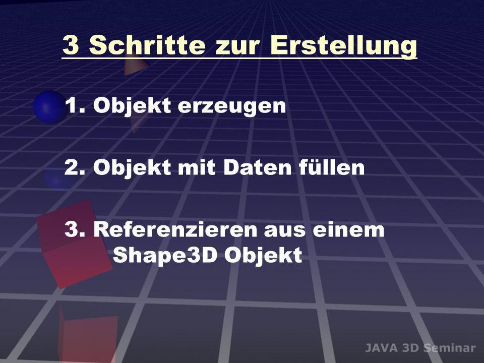 3 Schritte zur Erstellung 1. Objekt erzeugen 2. Objekt mit Daten füllen 3. Referenzieren aus einem Shape3D Objekt