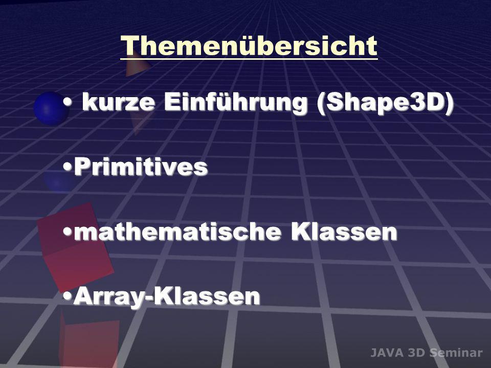 Themenübersicht kurze Einführung (Shape3D) kurze Einführung (Shape3D) PrimitivesPrimitives mathematische Klassenmathematische Klassen Array-KlassenArr
