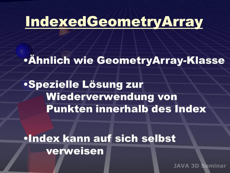 IndexedGeometryArray Ähnlich wie GeometryArray-Klasse Spezielle Lösung zur Wiederverwendung von Punkten innerhalb des Index Index kann auf sich selbst