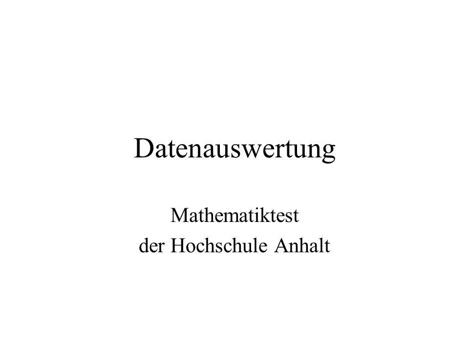 Datenauswertung Mathematiktest der Hochschule Anhalt
