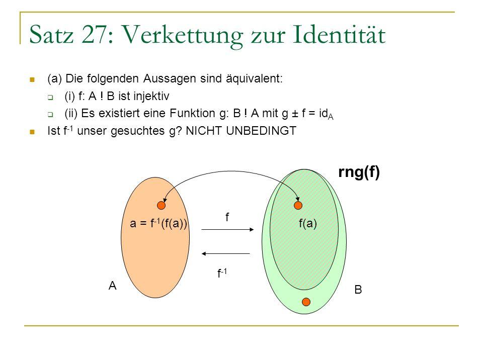 Satz 27: Verkettung zur Identität f trifft möglicherweise nicht alle Elemente von B.