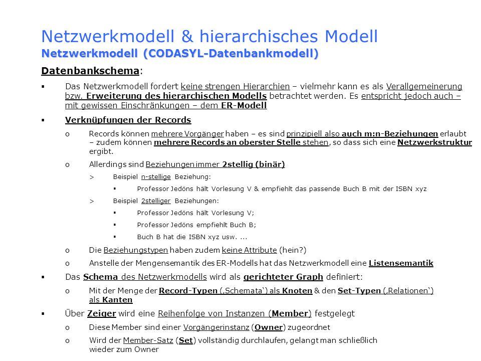 Netzwerkmodell & hierarchisches Modell Netzwerkmodell (CODASYL-Datenbankmodell) Datenbankschema: Das Netzwerkmodell fordert keine strengen Hierarchien
