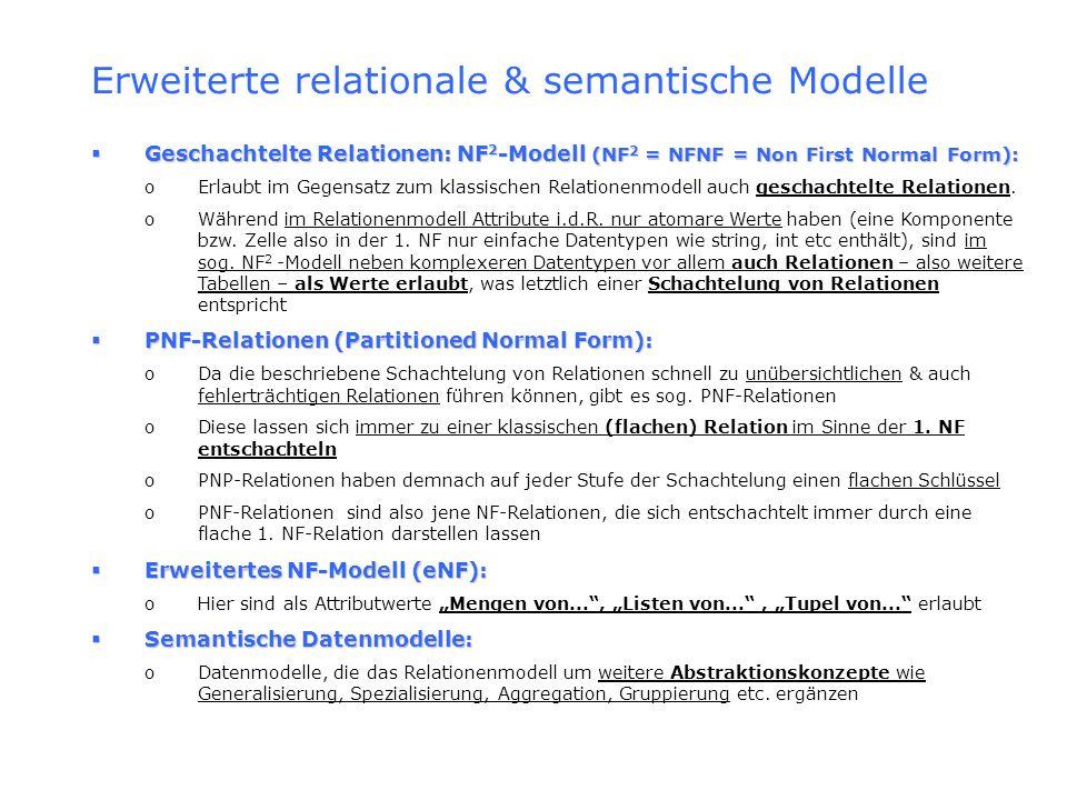 Erweiterte relationale & semantische Modelle Geschachtelte Relationen: NF 2 -Modell (NF 2 = NFNF = Non First Normal Form): Geschachtelte Relationen: N