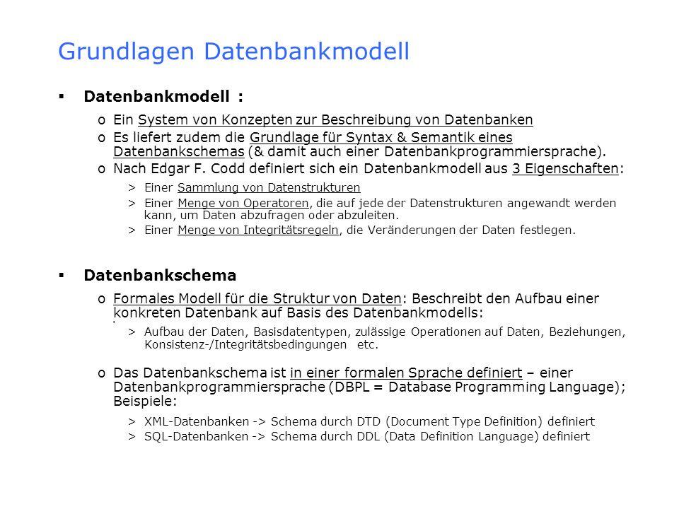Semistrukturierte Datenbanken Datenmodelle für semistrukturierte Dokumente (welche die beschriebenen Merkmale teilweise beheben) Schemalose Datenmodelle: Nutzen Graphendarstellungen für Instanzen & Attribute oOEM (Object Exchange Model) oBaummodell Union-Datenmodell: Hier wird eine Dokumentstruktur durch Vereinigung von Basisstrukturen erreicht oProblemski: Notwendigkeit vordefinierter Basisstrukturen – andernfalls bleiben die Probleme semistrukturierter Modelle bestehen Die Markup-Sprache HTML (Hypertext Markup Language): Strukturierung durch Tags oVorteil: Hohe Toleranz bei fehlenden/zusätzlichen Tags – deshalb eigentlich für semistrukturierte Dokumente gut geeignet oProblem: Vordefinierter & nicht veränderbarer Satz von (Tag-)Attributen Metasprachen wie SGML (Standard Generalized Markup Language) & XML (Extensible Markup Language): Ermöglichen die Beschreibung einer sog.