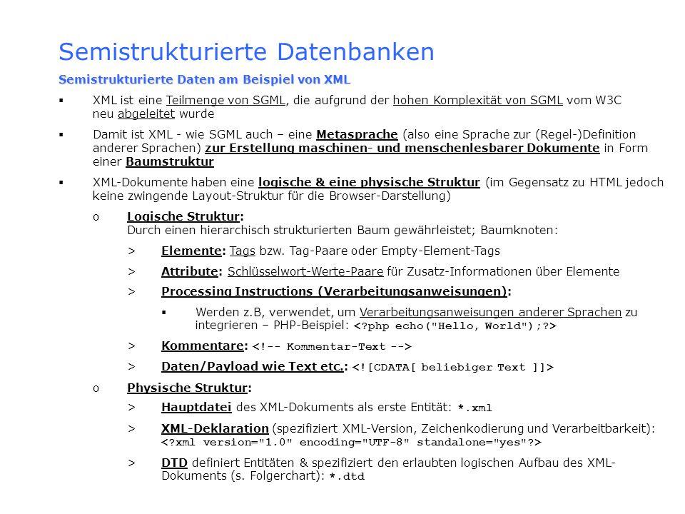 Semistrukturierte Datenbanken Semistrukturierte Daten am Beispiel von XML XML ist eine Teilmenge von SGML, die aufgrund der hohen Komplexität von SGML
