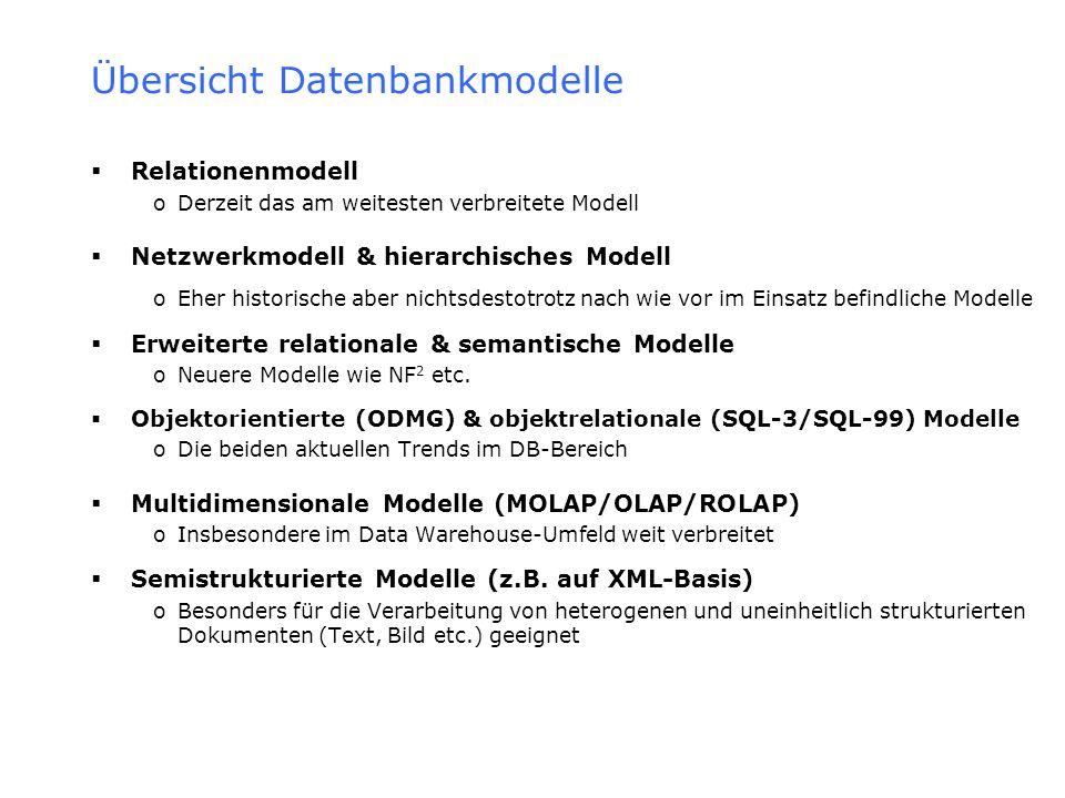 Objektorientierte & Objektrelationale Modelle Objektorientierte Modelle Modelle, deren Gegenstände Objekte im Sinn der objektorientierten Programmierung sind Basieren dementsprechend auf objektorientierten Sprachen wie C++ & bilden deren Typsystem direkt auf das Datenmodell ab oZiel: Struktur & Verhalten von Umweltobjekten möglichst 1:1 zu erfassen oZu diesem Zweck unterstützen OODB-Modelle im Gegensatz zu klassischen DB-Modellen weiterführende OO Konzepte wie >Komplexe Werte (Objekte), die als set of, tuple of & list of beschrieben werden können Also bspw.