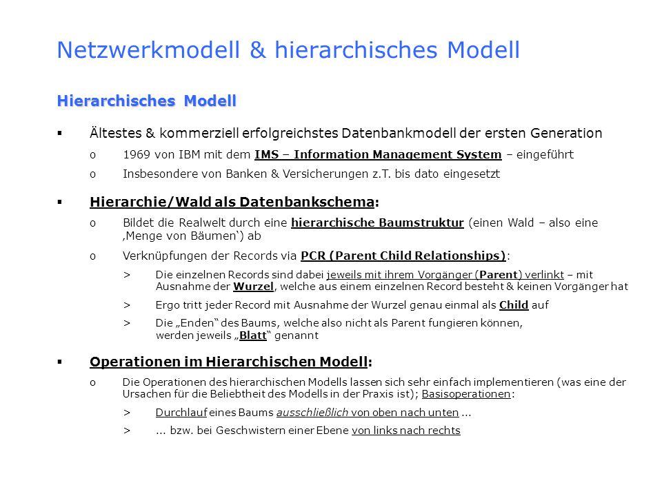 Netzwerkmodell & hierarchisches Modell Hierarchisches Modell Ältestes & kommerziell erfolgreichstes Datenbankmodell der ersten Generation o1969 von IB