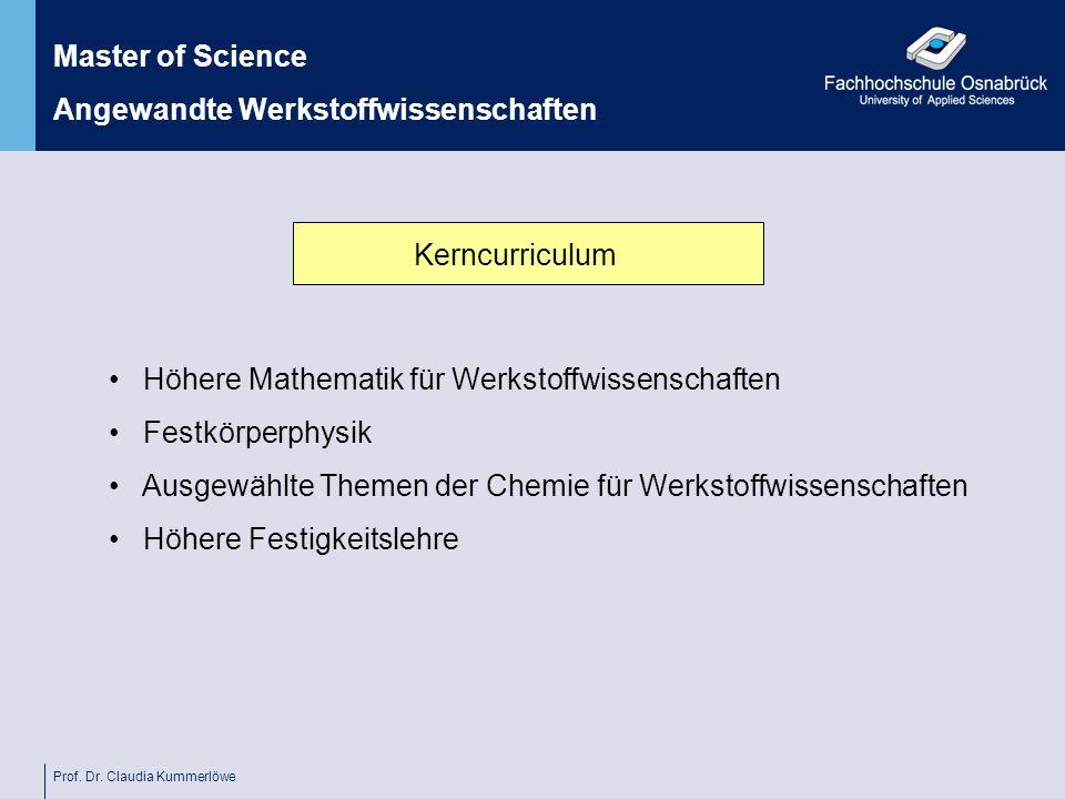 Prof. Dr. Claudia Kummerlöwe Kerncurriculum Master of Science Angewandte Werkstoffwissenschaften Höhere Mathematik für Werkstoffwissenschaften Festkör