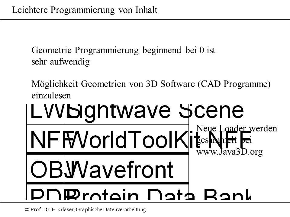 © Prof. Dr. H. Gläser, Graphische Datenverarbeitung Leichtere Programmierung von Inhalt Geometrie Programmierung beginnend bei 0 ist sehr aufwendig Mö
