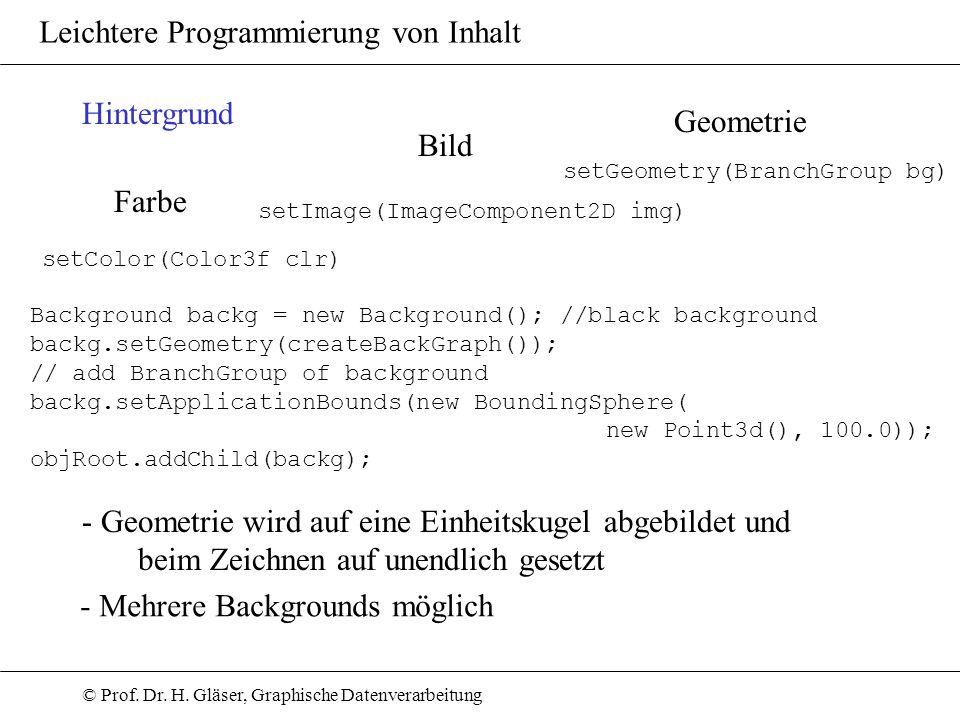 © Prof. Dr. H. Gläser, Graphische Datenverarbeitung Leichtere Programmierung von Inhalt Hintergrund Farbe Bild Geometrie Background backg = new Backgr