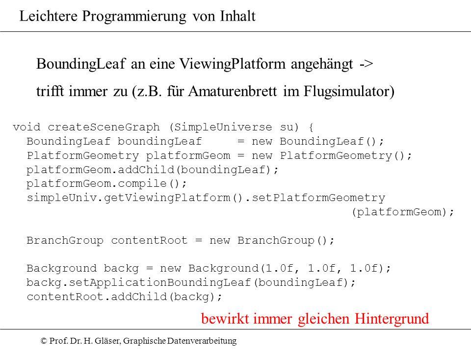 © Prof. Dr. H. Gläser, Graphische Datenverarbeitung Leichtere Programmierung von Inhalt BoundingLeaf an eine ViewingPlatform angehängt -> trifft immer