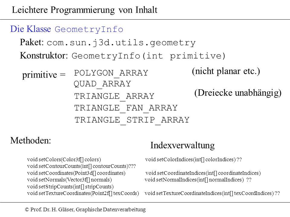 © Prof. Dr. H. Gläser, Graphische Datenverarbeitung Leichtere Programmierung von Inhalt Die Klasse GeometryInfo Paket: com.sun.j3d.utils.geometry Kons