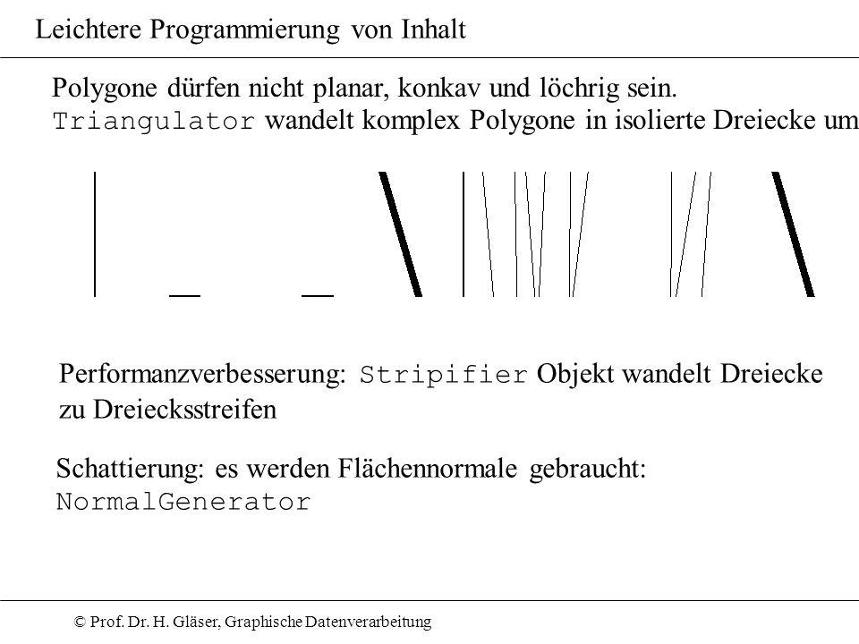 © Prof. Dr. H. Gläser, Graphische Datenverarbeitung Leichtere Programmierung von Inhalt Performanzverbesserung: Stripifier Objekt wandelt Dreiecke zu