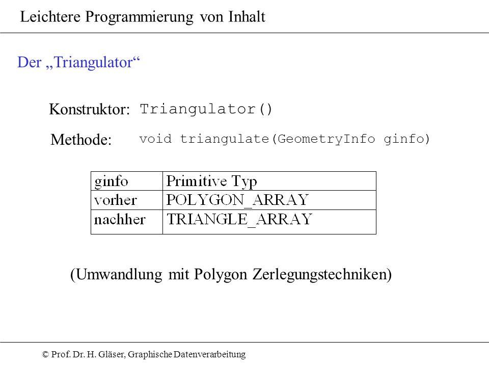 © Prof. Dr. H. Gläser, Graphische Datenverarbeitung Leichtere Programmierung von Inhalt Konstruktor: Triangulator() Der Triangulator Methode: void tri